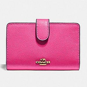 Coach Pink Ruby Crossgrain Leather Wallet